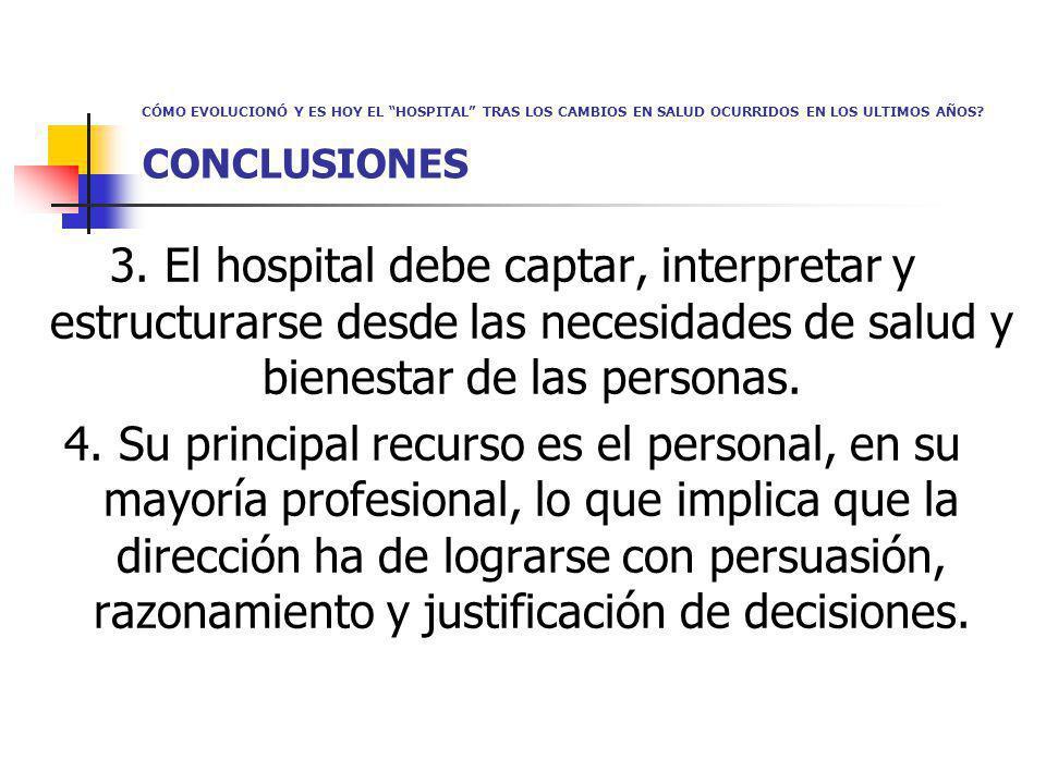 CÓMO EVOLUCIONÓ Y ES HOY EL HOSPITAL TRAS LOS CAMBIOS EN SALUD OCURRIDOS EN LOS ULTIMOS AÑOS? CONCLUSIONES 3. El hospital debe captar, interpretar y e