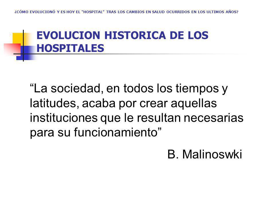 La sociedad, en todos los tiempos y latitudes, acaba por crear aquellas instituciones que le resultan necesarias para su funcionamiento B. Malinoswki