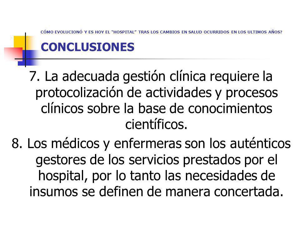 CÓMO EVOLUCIONÓ Y ES HOY EL HOSPITAL TRAS LOS CAMBIOS EN SALUD OCURRIDOS EN LOS ULTIMOS AÑOS? CONCLUSIONES 7. La adecuada gestión clínica requiere la