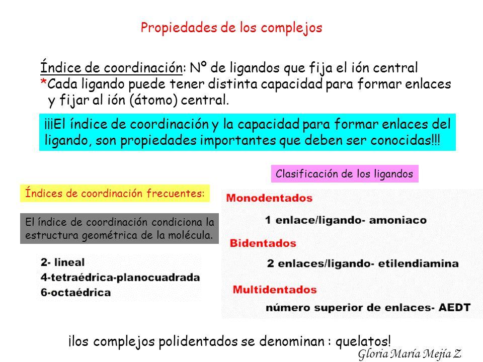 Propiedades de los complejos Índice de coordinación: Nº de ligandos que fija el ión central *Cada ligando puede tener distinta capacidad para formar e