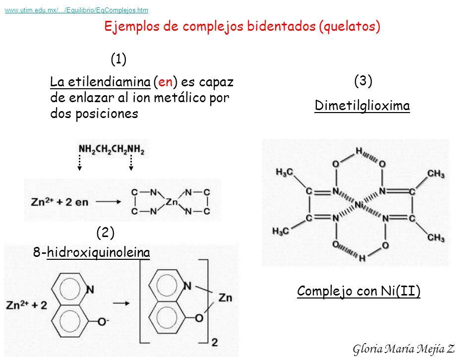 Ejemplos de complejos bidentados (quelatos) La etilendiamina (en) es capaz de enlazar al ion metálico por dos posiciones (1) (2) 8-hidroxiquinoleina (