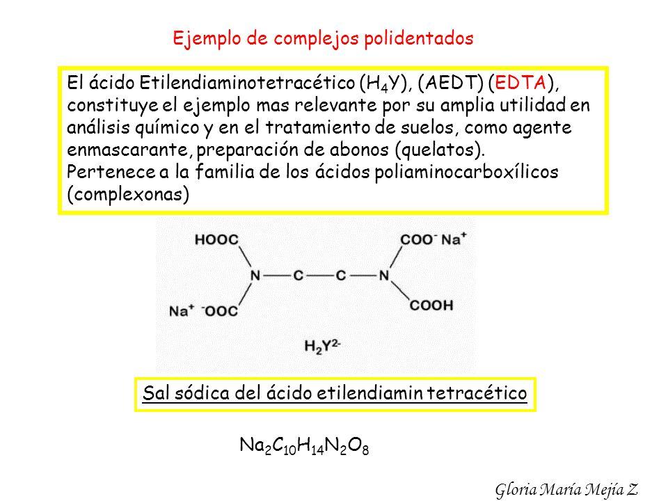 Ejemplo de complejos polidentados El ácido Etilendiaminotetracético (H 4 Y), (AEDT) (EDTA), constituye el ejemplo mas relevante por su amplia utilidad