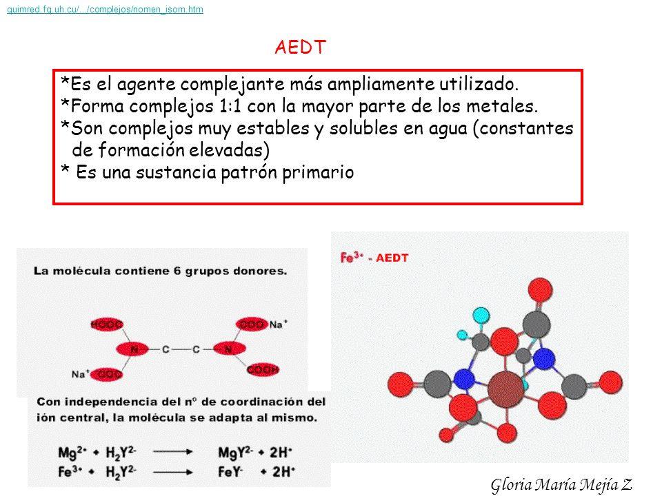 AEDT *Es el agente complejante más ampliamente utilizado. *Forma complejos 1:1 con la mayor parte de los metales. *Son complejos muy estables y solubl