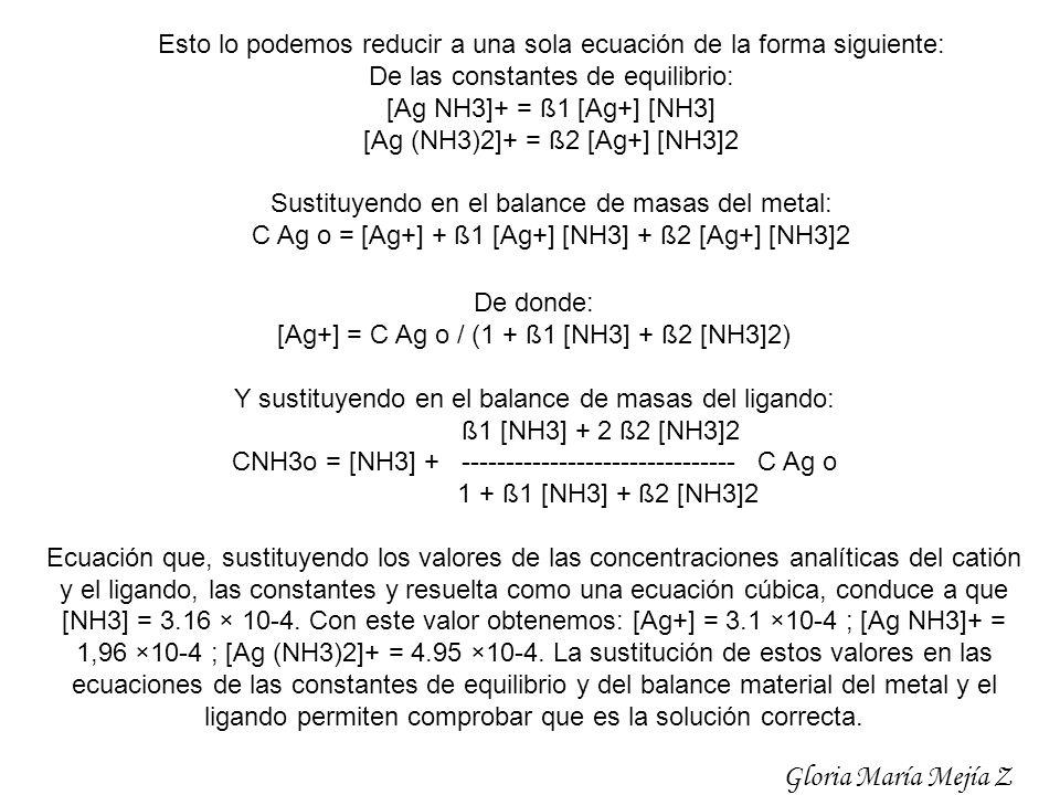 Esto lo podemos reducir a una sola ecuación de la forma siguiente: De las constantes de equilibrio: [Ag NH3]+ = ß1 [Ag+] [NH3] [Ag (NH3)2]+ = ß2 [Ag+]