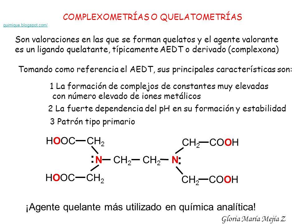 COMPLEXOMETRÍAS O QUELATOMETRÍAS Son valoraciones en las que se forman quelatos y el agente valorante es un ligando quelatante, típicamente AEDT o der