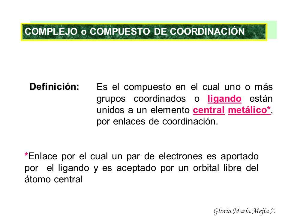 COMPLEJO o COMPUESTO DE COORDINACIÓN Definición: Es el compuesto en el cual uno o más grupos coordinados o ligando están unidos a un elemento central
