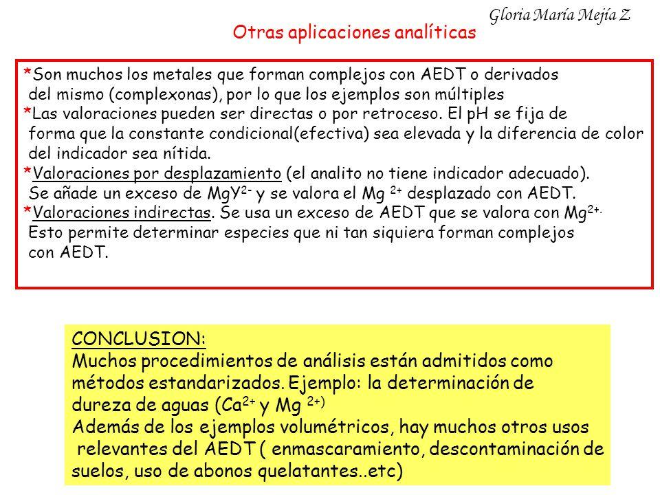 Otras aplicaciones analíticas *Son muchos los metales que forman complejos con AEDT o derivados del mismo (complexonas), por lo que los ejemplos son m