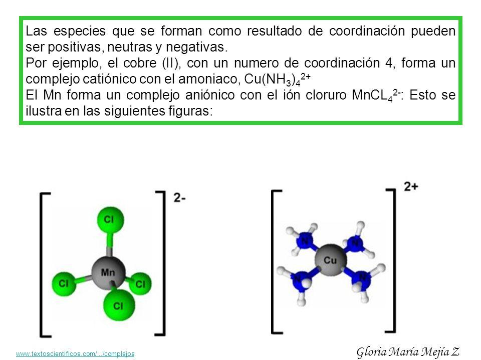 Las especies que se forman como resultado de coordinación pueden ser positivas, neutras y negativas. Por ejemplo, el cobre (II), con un numero de coor