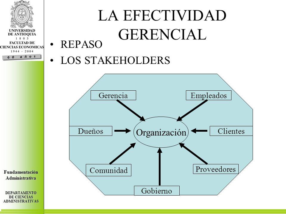 Centro de Investigaciones Económicas FundamentaciónAdministrativa DEPARTAMENTO DE CIENCIAS ADMINISTRATIVAS Centro de Investigaciones Económicas FundamentaciónAdministrativa DEPARTAMENTO DE CIENCIAS ADMINISTRATIVAS Centro de Investigaciones Económicas FundamentaciónAdministrativa DEPARTAMENTO DE CIENCIAS ADMINISTRATIVAS LA EFECTIVIDAD GERENCIAL REPASO LOS STAKEHOLDERS Empleados DueñosClientes Gerencia Proveedores Gobierno Comunidad Organización