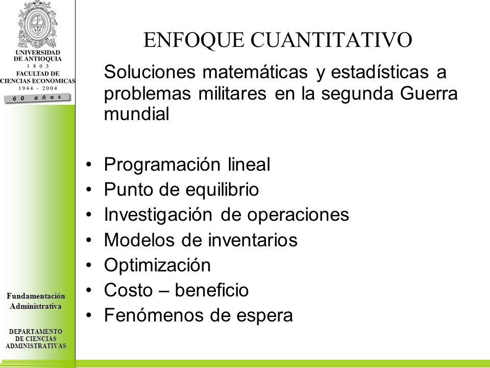 Centro de Investigaciones Económicas FundamentaciónAdministrativa DEPARTAMENTO DE CIENCIAS ADMINISTRATIVAS Centro de Investigaciones Económicas FundamentaciónAdministrativa DEPARTAMENTO DE CIENCIAS ADMINISTRATIVAS Centro de Investigaciones Económicas FundamentaciónAdministrativa DEPARTAMENTO DE CIENCIAS ADMINISTRATIVAS ENFOQUE CUANTITATIVO Soluciones matemáticas y estadísticas a problemas militares en la segunda Guerra mundial Programación lineal Punto de equilibrio Investigación de operaciones Modelos de inventarios Optimización Costo – beneficio Fenómenos de espera