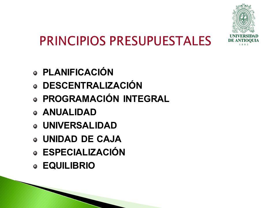 PLANIFICACIÓN DESCENTRALIZACIÓN PROGRAMACIÓN INTEGRAL ANUALIDAD UNIVERSALIDAD UNIDAD DE CAJA ESPECIALIZACIÓN EQUILIBRIO