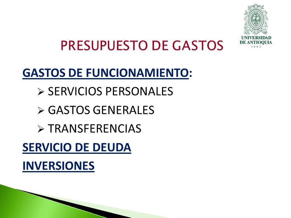 GASTOS DE FUNCIONAMIENTO: SERVICIOS PERSONALES GASTOS GENERALES TRANSFERENCIAS SERVICIO DE DEUDA INVERSIONES