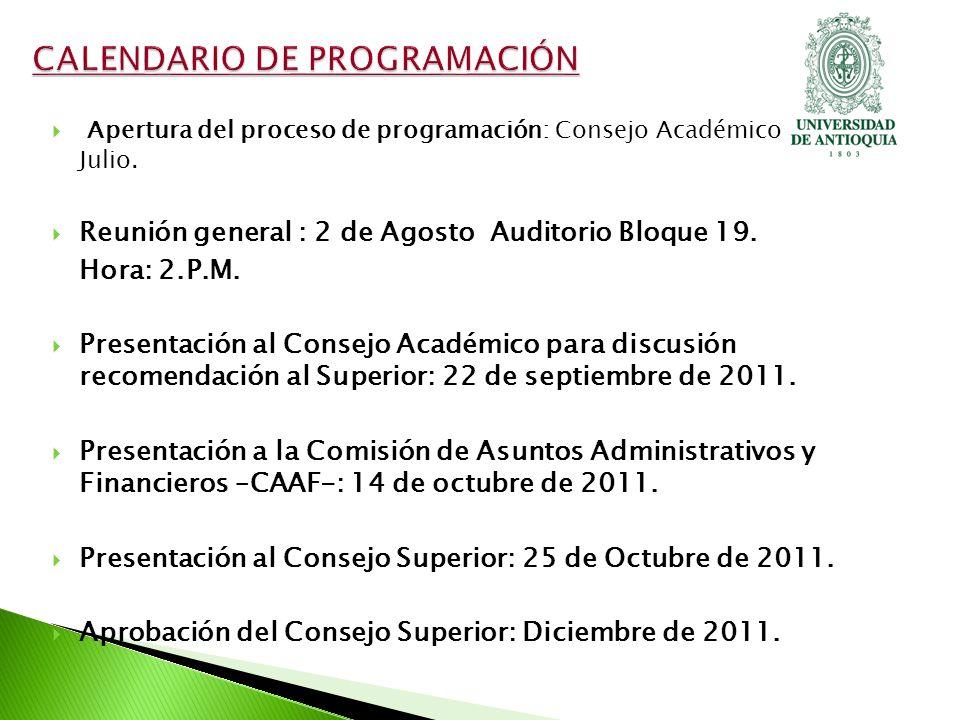 Apertura del proceso de programación: Consejo Académico 14 de Julio.