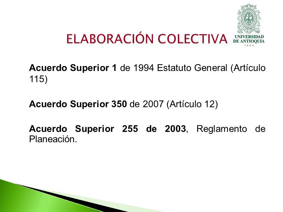 Acuerdo Superior 1 de 1994 Estatuto General (Artículo 115) Acuerdo Superior 350 de 2007 (Artículo 12) Acuerdo Superior 255 de 2003, Reglamento de Planeación.