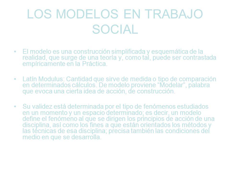 LOS MODELOS EN TRABAJO SOCIAL El modelo es una construcción simplificada y esquemática de la realidad, que surge de una teoría y, como tal, puede ser