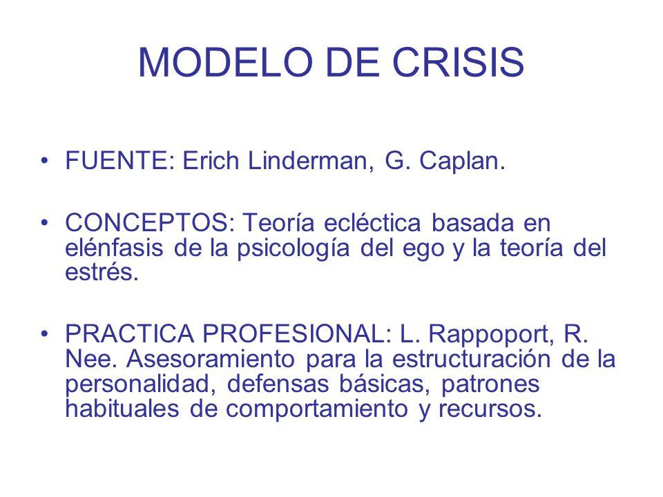 MODELO DE CRISIS FUENTE: Erich Linderman, G. Caplan. CONCEPTOS: Teoría ecléctica basada en elénfasis de la psicología del ego y la teoría del estrés.