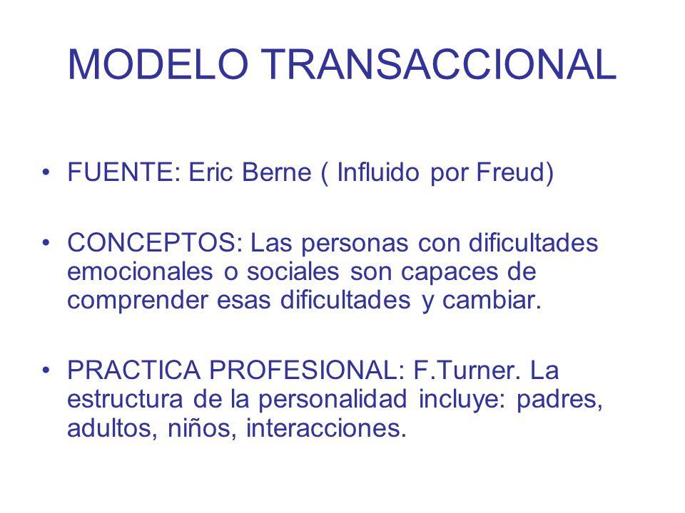 MODELO TRANSACCIONAL FUENTE: Eric Berne ( Influido por Freud) CONCEPTOS: Las personas con dificultades emocionales o sociales son capaces de comprende