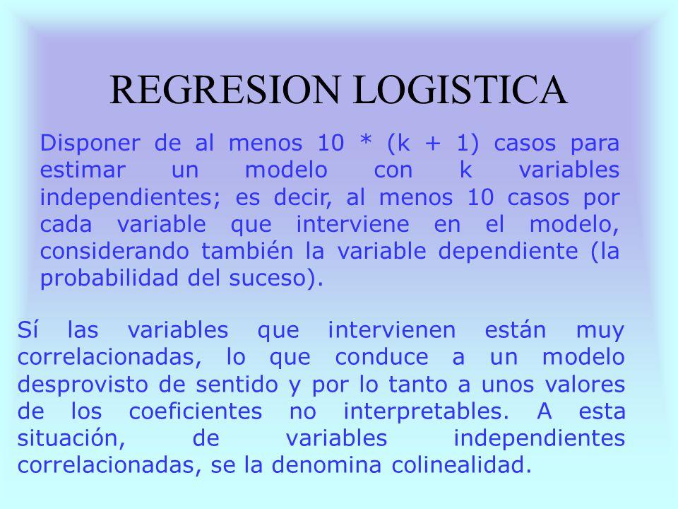 REGRESION LOGISTICA Disponer de al menos 10 * (k + 1) casos para estimar un modelo con k variables independientes; es decir, al menos 10 casos por cad
