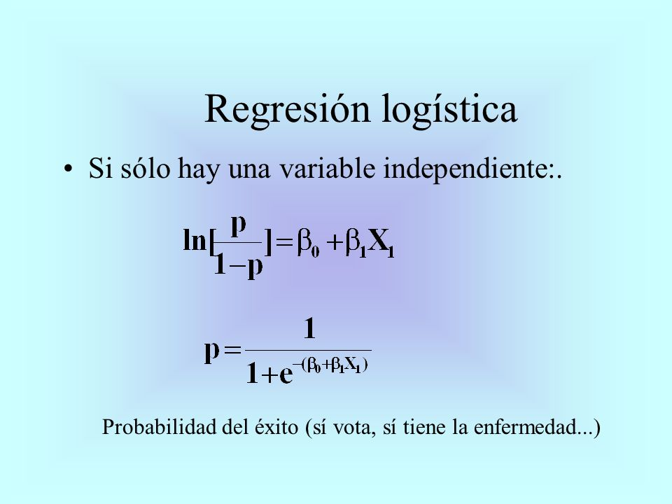 Si sólo hay una variable independiente:. Regresión logística Probabilidad del éxito (sí vota, sí tiene la enfermedad...)