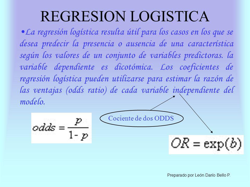 REGRESION LOGISTICA La regresión logística resulta útil para los casos en los que se desea predecir la presencia o ausencia de una característica segú