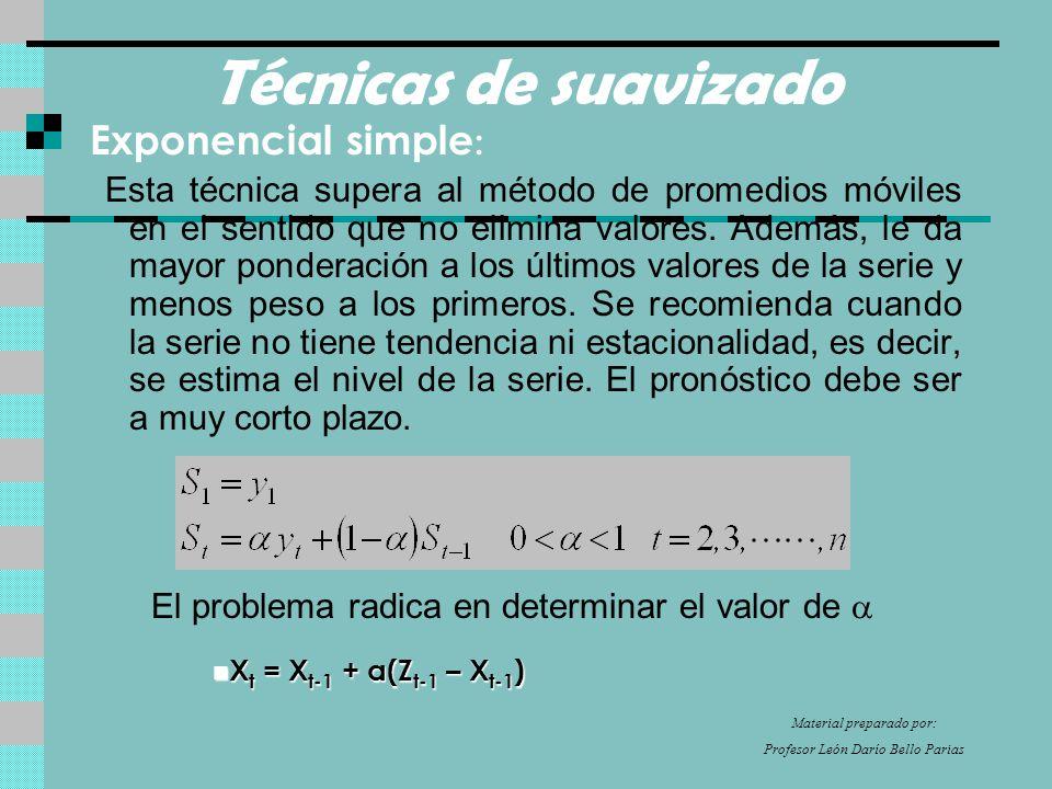 Técnicas de suavizado Exponencial simple : Esta técnica supera al método de promedios móviles en el sentido que no elimina valores.