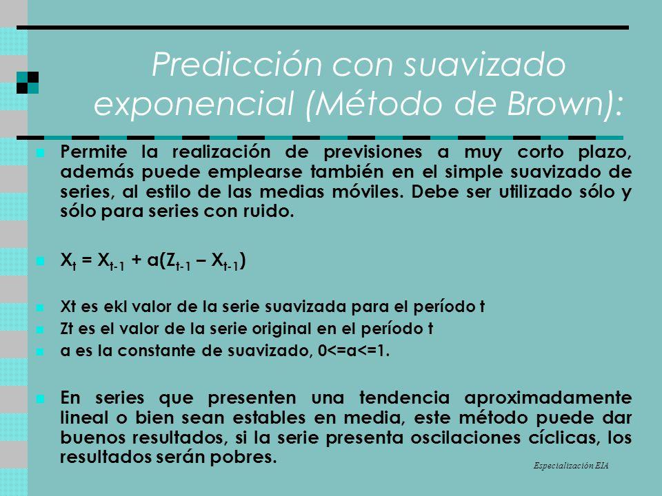 Predicción con suavizado exponencial (Método de Brown): Permite la realización de previsiones a muy corto plazo, además puede emplearse también en el simple suavizado de series, al estilo de las medias móviles.