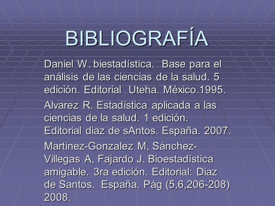 BIBLIOGRAFÍA Daniel W. biestadística. Base para el análisis de las ciencias de la salud. 5 edición. Editorial Uteha. México.1995. Alvarez R. Estadísti