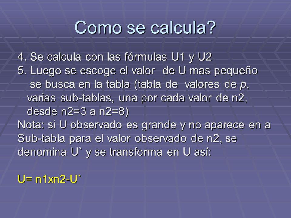 Como se calcula? 4. Se calcula con las fórmulas U1 y U2 5. Luego se escoge el valor de U mas pequeño se busca en la tabla (tabla de valores de p, se b