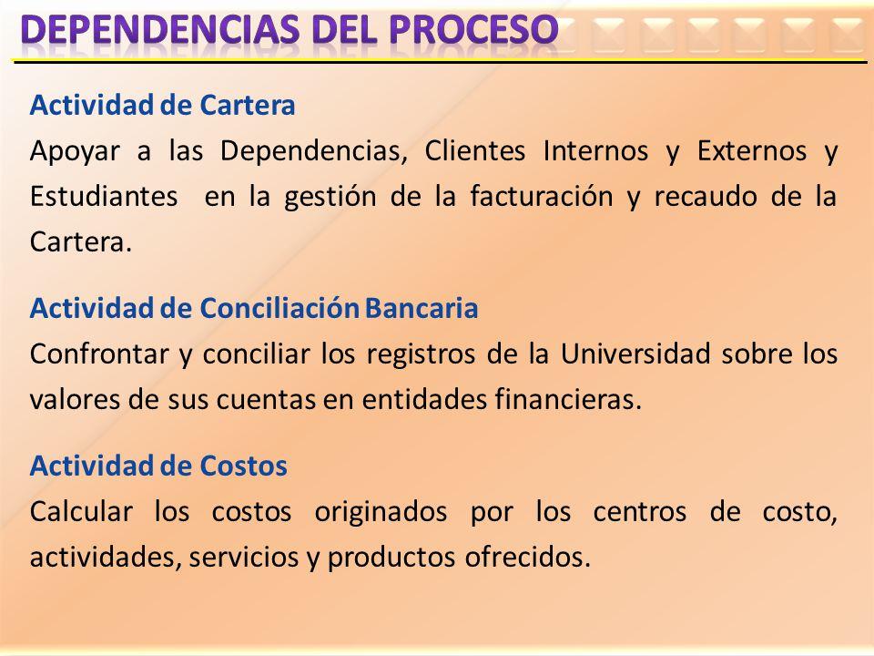 Actividad de Cartera Apoyar a las Dependencias, Clientes Internos y Externos y Estudiantes en la gestión de la facturación y recaudo de la Cartera. Ac