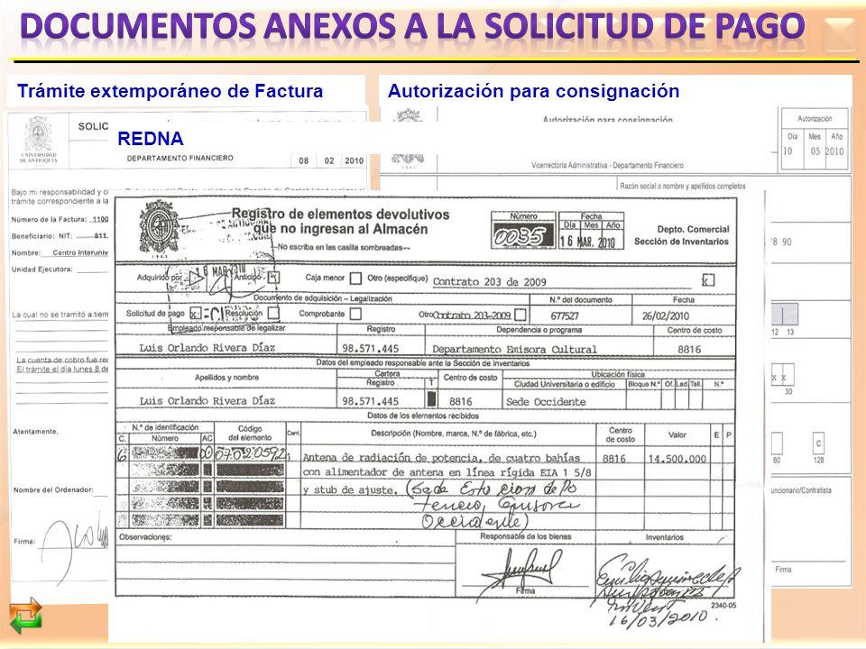 Trámite extemporáneo de FacturaAutorización para consignación REDNA