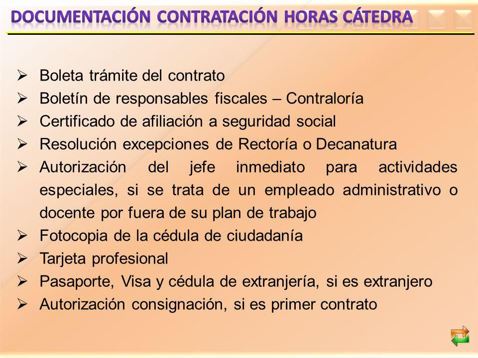 Boleta trámite del contrato Boletín de responsables fiscales – Contraloría Certificado de afiliación a seguridad social Resolución excepciones de Rect