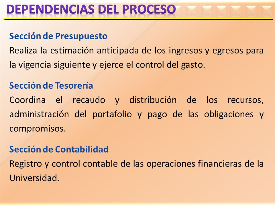 Sección de Presupuesto Realiza la estimación anticipada de los ingresos y egresos para la vigencia siguiente y ejerce el control del gasto. Sección de