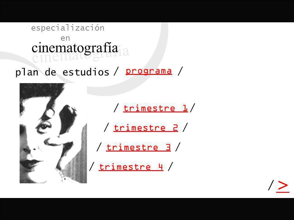 / > / especialización en cinematografía programa plan de estudios trimestre 2 trimestre 3 trimestre 4 trimestre 1 // // // // /