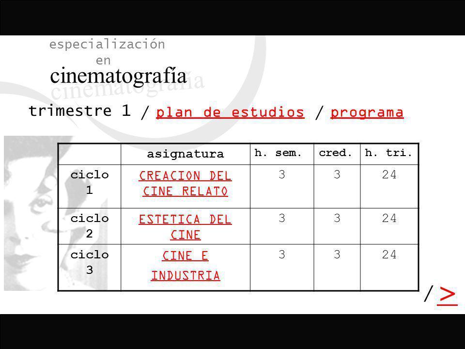 / > / especialización en cinematografía programa plan de estudios / asignatura h. sem.cred.h. tri. ciclo 1 CREACION DEL CINE RELATO 3324 ciclo 2 ESTET