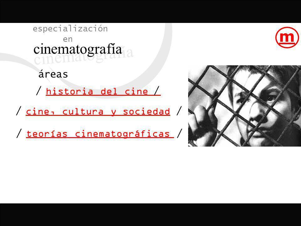 áreas especialización en cinematografía historia del cine teorías cinematográficas cine, cultura y sociedad / / // / / m