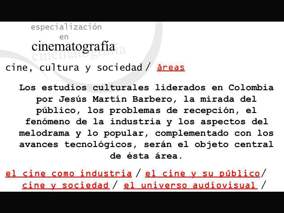 especialización en cinematografía cine, cultura y sociedad áreas / el cine como industria cine y sociedad el cine y su público el universo audiovisual