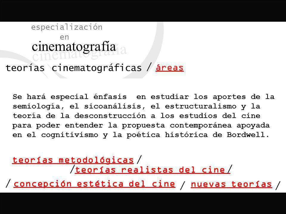 especialización en cinematografía teorías cinematográficas áreas / concepción estética del cine teorías realistas del cine teorías metodológicas nueva