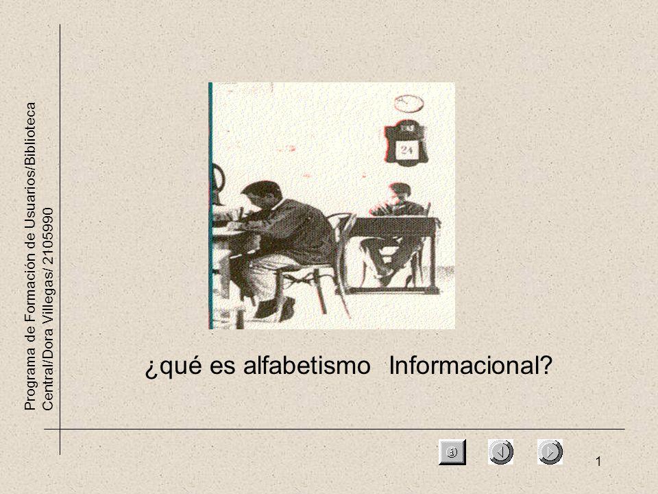 1 Programa de Formación de Usuarios/Biblioteca Central/Dora Villegas/ 2105990 ¿qué es alfabetismo Informacional?