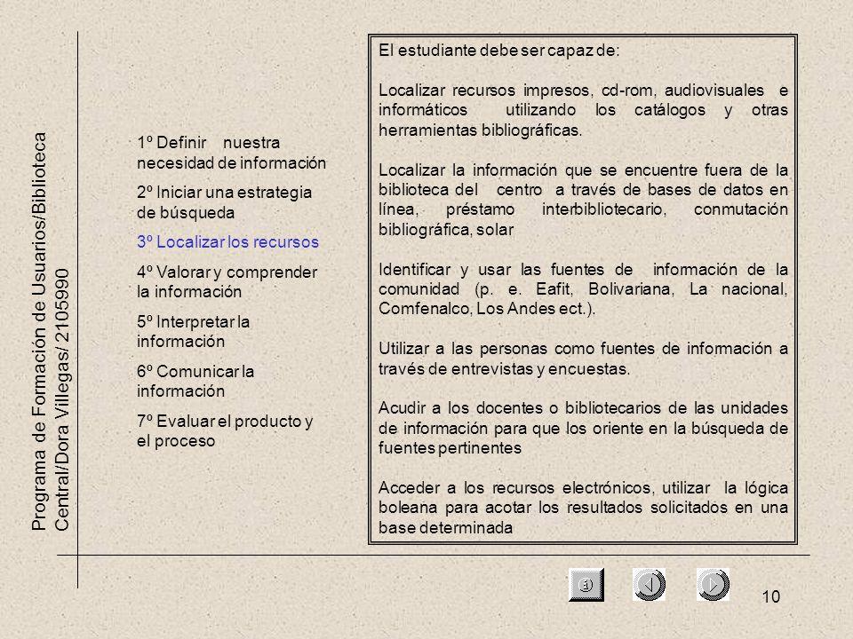 10 Programa de Formación de Usuarios/Biblioteca Central/Dora Villegas/ 2105990 1º Definir nuestra necesidad de información 2º Iniciar una estrategia d