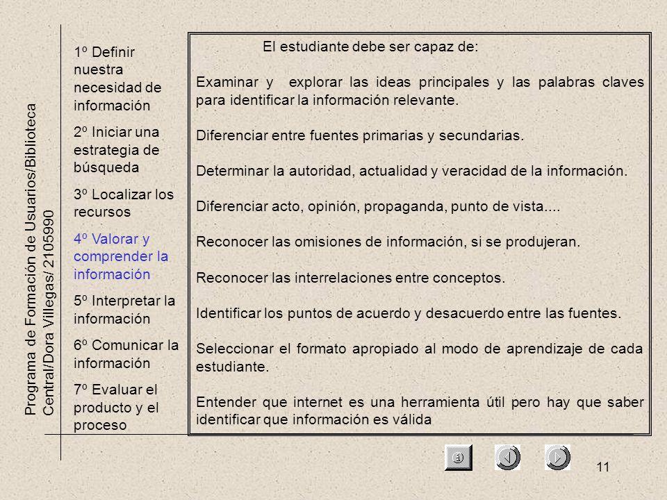 11 Programa de Formación de Usuarios/Biblioteca Central/Dora Villegas/ 2105990 1º Definir nuestra necesidad de información 2º Iniciar una estrategia d