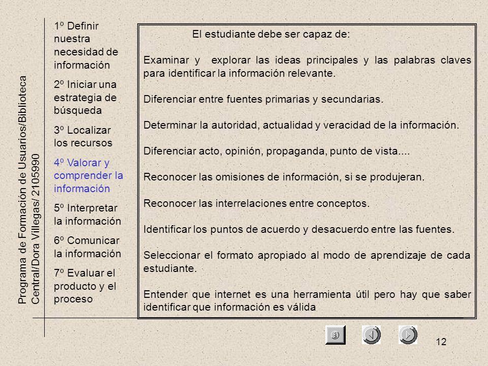 12 Programa de Formación de Usuarios/Biblioteca Central/Dora Villegas/ 2105990 1º Definir nuestra necesidad de información 2º Iniciar una estrategia d
