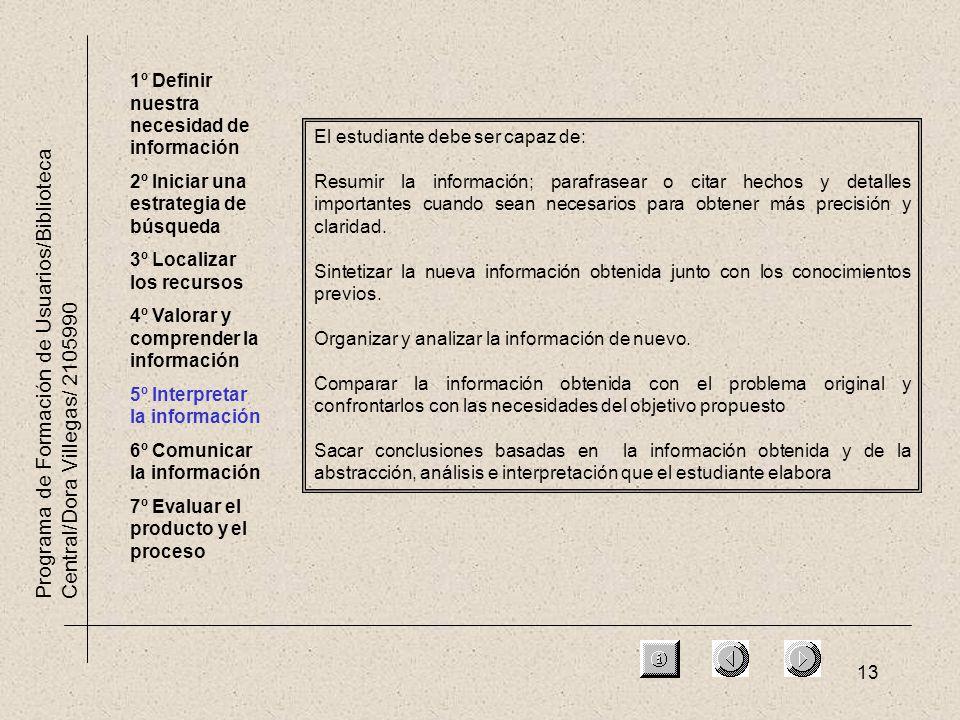 13 Programa de Formación de Usuarios/Biblioteca Central/Dora Villegas/ 2105990 1º Definir nuestra necesidad de información 2º Iniciar una estrategia d