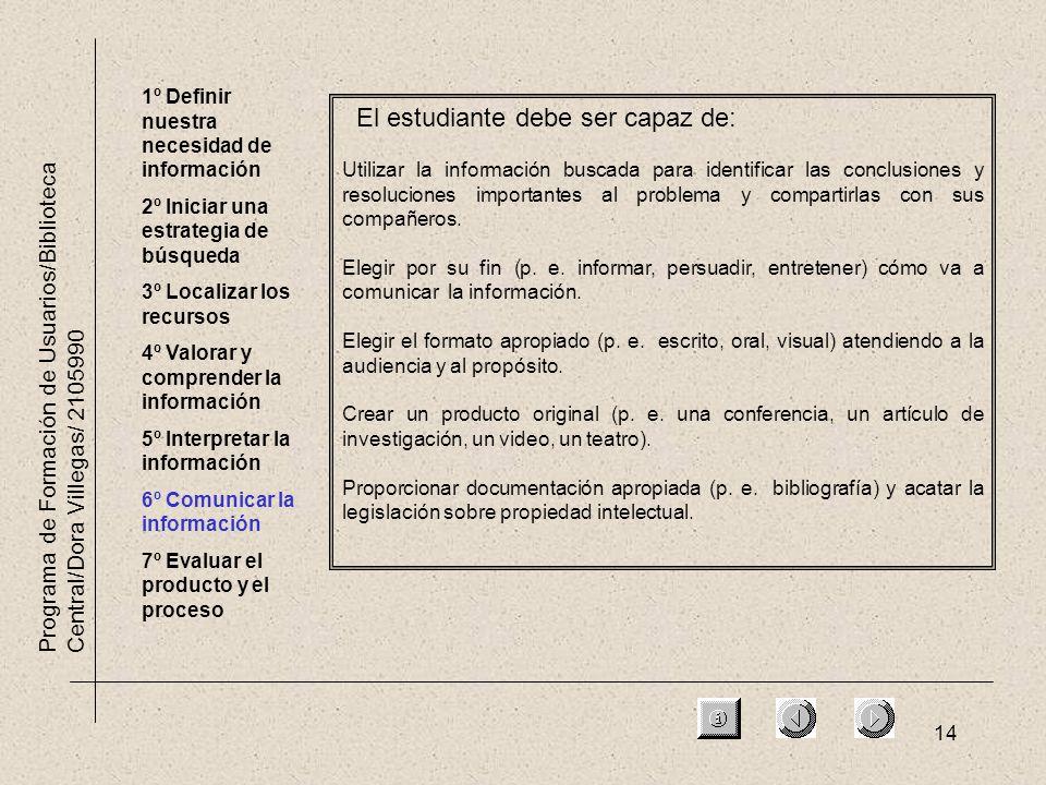 14 Programa de Formación de Usuarios/Biblioteca Central/Dora Villegas/ 2105990 1º Definir nuestra necesidad de información 2º Iniciar una estrategia d