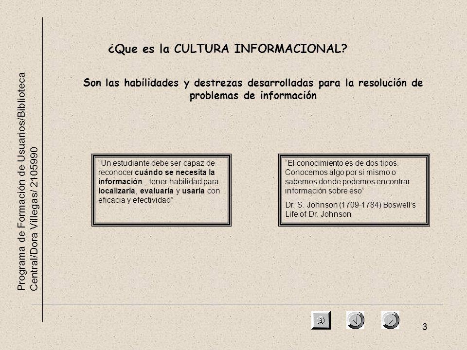 3 Programa de Formación de Usuarios/Biblioteca Central/Dora Villegas/ 2105990 ¿Que es la CULTURA INFORMACIONAL? Son las habilidades y destrezas desarr