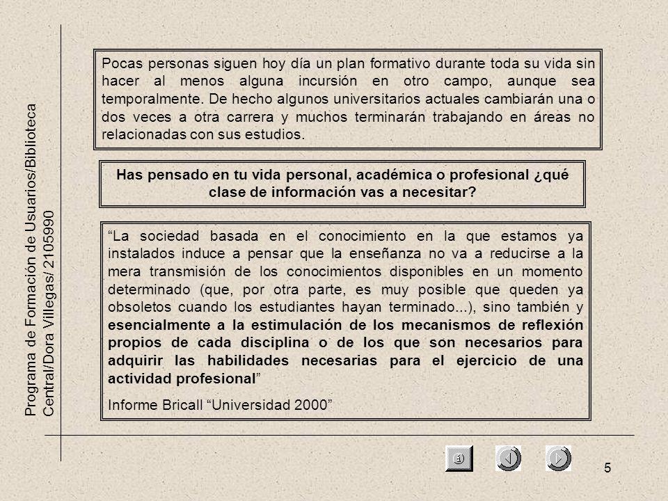 5 Programa de Formación de Usuarios/Biblioteca Central/Dora Villegas/ 2105990 Has pensado en tu vida personal, académica o profesional ¿qué clase de información vas a necesitar.