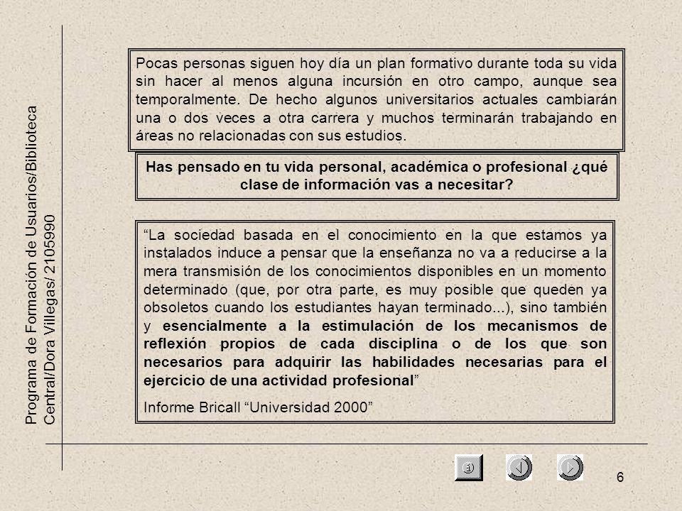 6 Programa de Formación de Usuarios/Biblioteca Central/Dora Villegas/ 2105990 Has pensado en tu vida personal, académica o profesional ¿qué clase de información vas a necesitar.