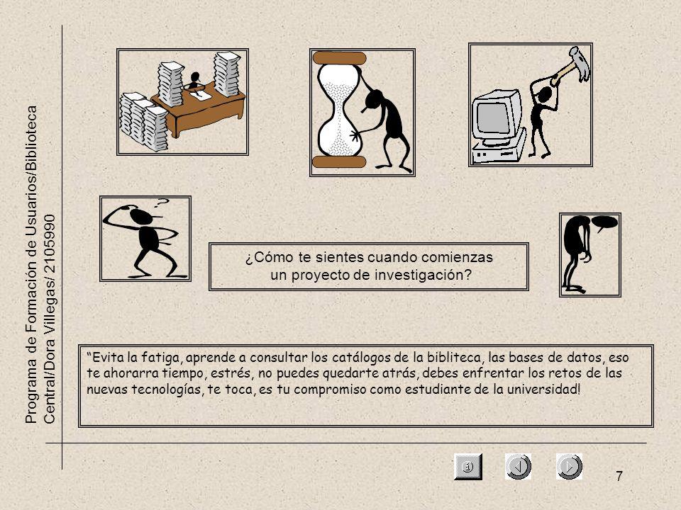 7 Programa de Formación de Usuarios/Biblioteca Central/Dora Villegas/ 2105990 ¿Cómo te sientes cuando comienzas un proyecto de investigación? Evita la