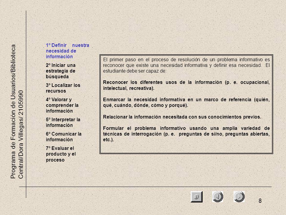 8 Programa de Formación de Usuarios/Biblioteca Central/Dora Villegas/ 2105990 1º Definir nuestra necesidad de información 2º Iniciar una estrategia de
