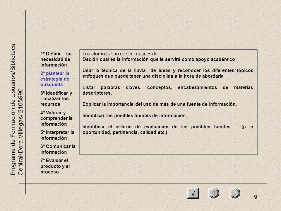 9 Programa de Formación de Usuarios/Biblioteca Central/Dora Villegas/ 2105990 1º Definir su necesidad de información 2º plantear la estrategia de búsq