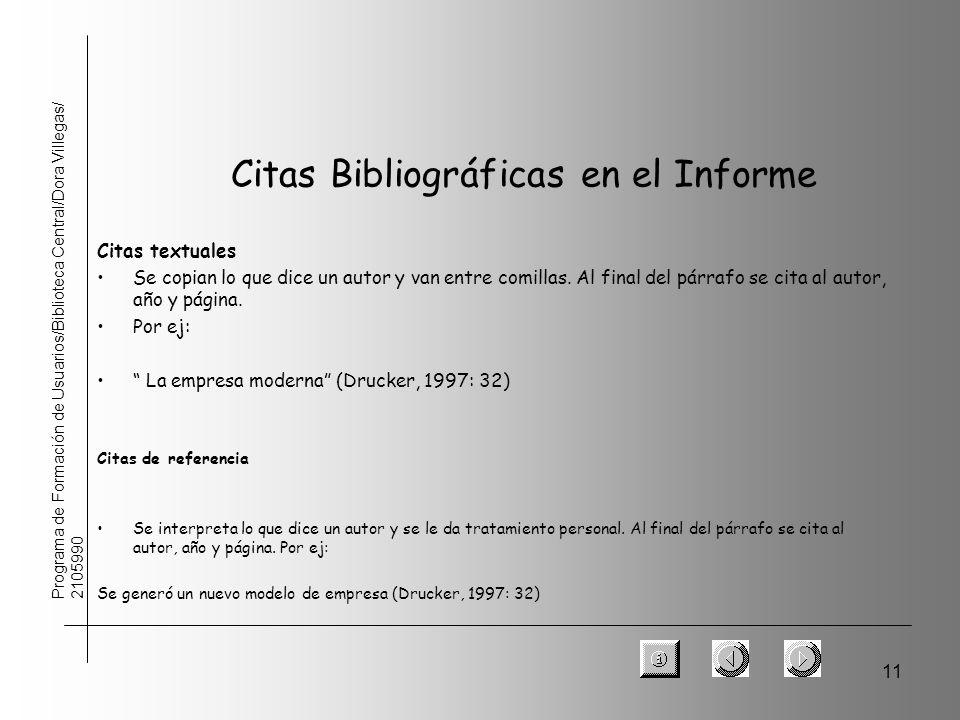 11 Programa de Formación de Usuarios/Biblioteca Central/Dora Villegas/ 2105990 Citas textuales Se copian lo que dice un autor y van entre comillas. Al